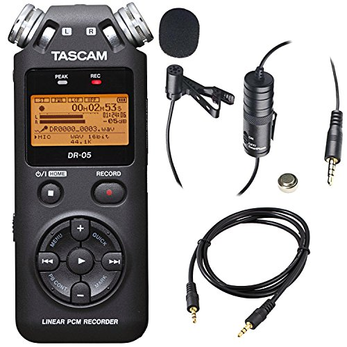 - Tascam DR-05 (Version 2) Portable Handheld Digital Audio Recorder (Black) with Deluxe accessory bundle