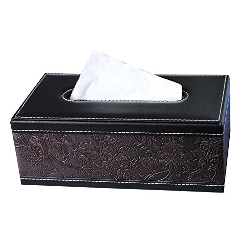 (KINGFOM Rectangular PU Leather Facial Tissue Box Napkin Holder for Home Office, Car Automotive Decoration (Retro Flower))