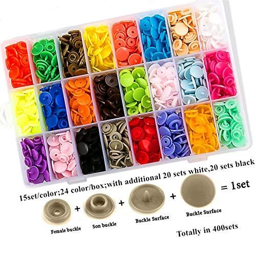 Guifier 400 Sets T5 Botones de Presión Snaps Plástico Corchetes de Presión con Alicates de Botones T5 Botón a presión Con caja de almacenamiento Organizer ...