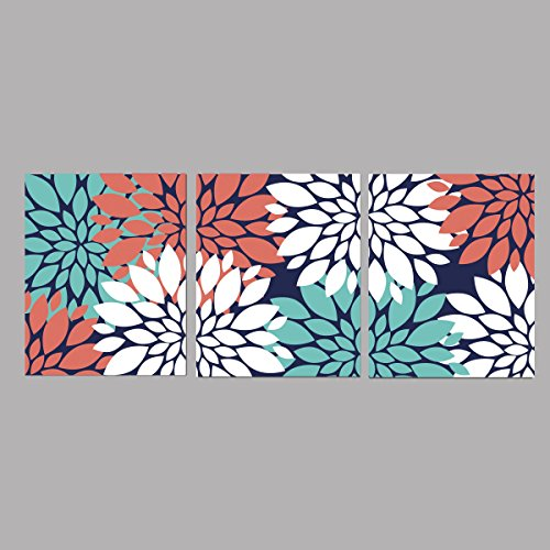Coral Flower Turquoise (Coral Turquoise and White and Navy Blue Bursts Dahlias peonies Wall Art - 8x10 ((Unframed)))