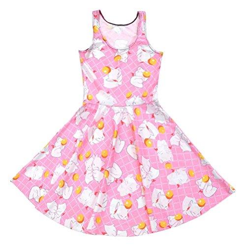 Vêtements Pour Femmes Robes De Fille Plissés Impression Bande Dessinée Magique Robe De Plage Sans Manches Rose