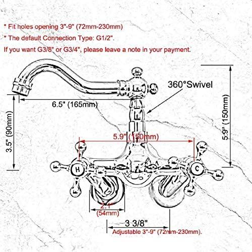 ZJN-JN 蛇口 蛇口ウォールはポリッシュクロームデュアルクロスハンドルの浴室キッチン洗面シンクのスイベル蛇口のミキサーのタップをマウント 台付