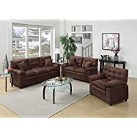 Benzara BM168481 Microfiber Sofa with Loveseat and Chair, Brown