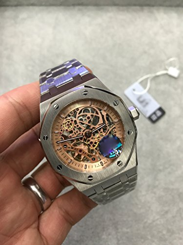 Luxury Brand Stainless Steel Silver Color All Gold dial Automatic Movement Skeleton Oak Watch -