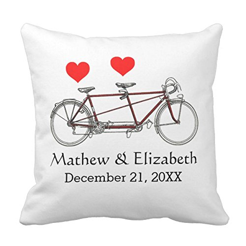 Tandem Bike Case - UOOPOO Vintage Cute Tandem Bicycle Couple Custom Wedding Gift Throw Pillow Case Square 20 x 20 Inches Cotton Canvas Customized Wedding Pillow Cover for Sofa