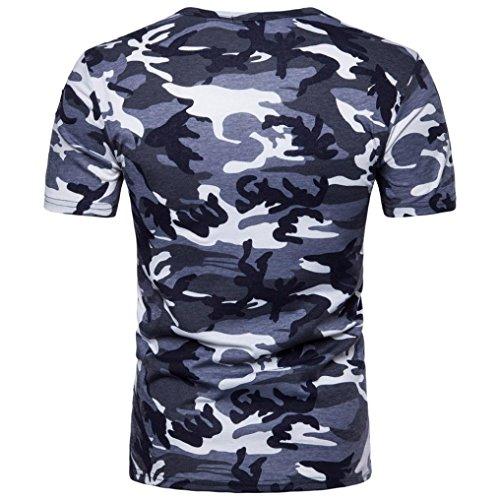 Bluestercool Hommes Casual Camouflage Imprimé Manches Courtes Col Rond T-Shirt Tops Bleu