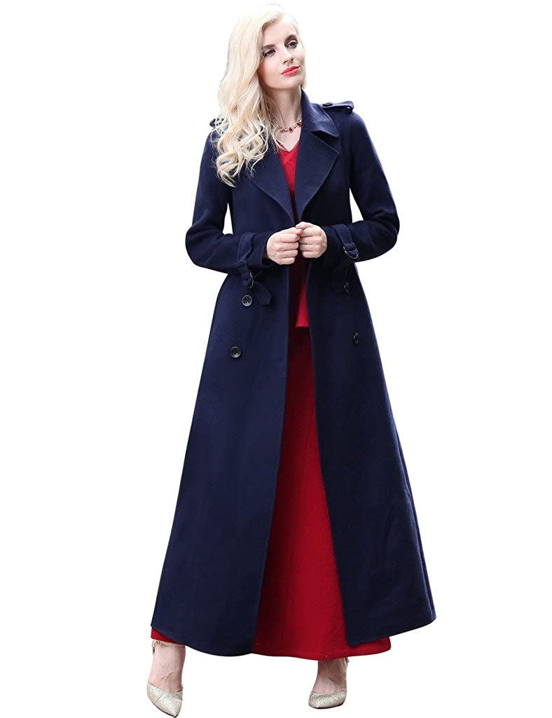 Dark bluee YiYuan Fashion Doublebreasted 100% Wool Trench Coats for Women with Pockets