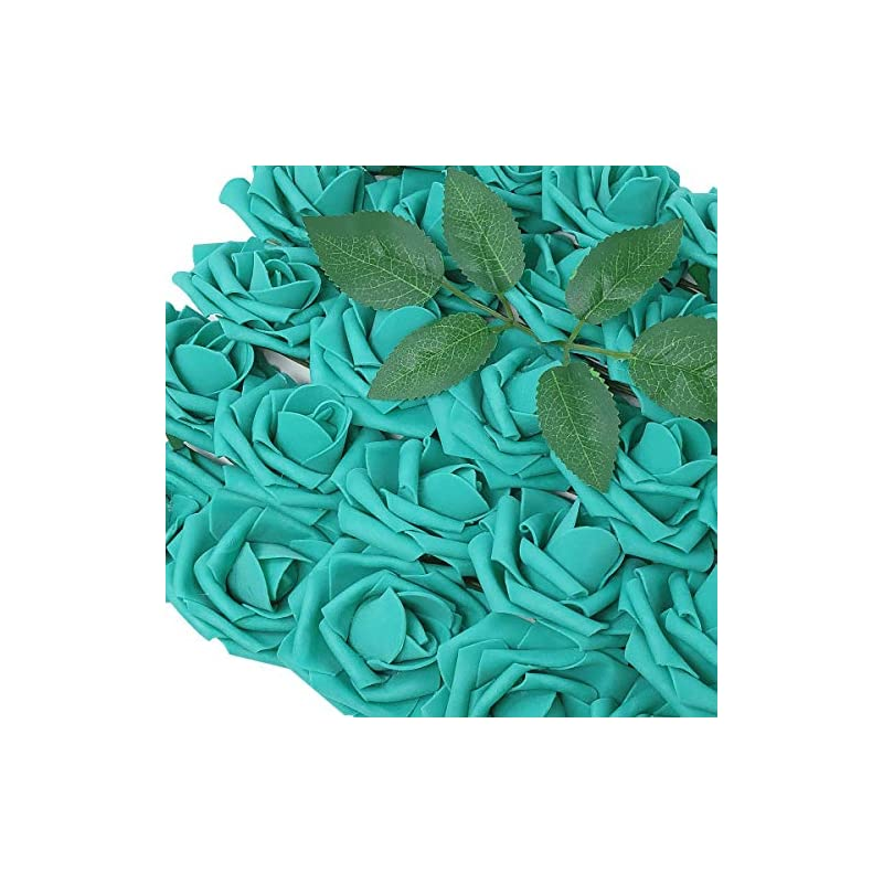 silk flower arrangements wrapables artificial rose flower, real touch flowers for diy wedding bouquets and centerpieces, teal