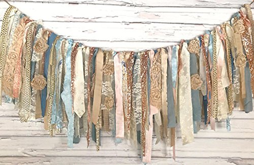 Rose Gold Blue Shabby Chic Rag Tie Garland: ~ Photo Shoot ~ Wedding ~ Birthday ~ Nursery ~ Bridal Shower ~ Highchair Banner ~ Gender Reveal Parties ~ Decorations ~ Wall Decor! (3 FEET WIDE) ()