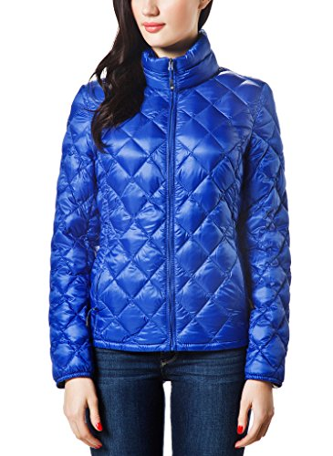 UPC 746856816661, XPOSURZONE Women Packable Down Quilted Jacket Lightweight Puffer Coat Vibrant Cobalt S