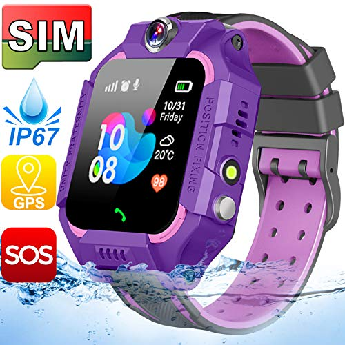 【SIM Card Included】 Kids Smart Watches-GPS Tracker Smart Watch Phone for Boys Girls -Waterproof Smartwatch with SOS Games (Purple Waterproof GPS Tracker Watch+Free SIM Card)