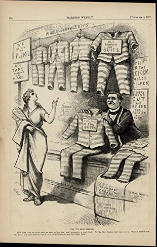 Columbia Vintage Ring - Prison Uniform Tailors Lady Columbia Tammany Ring 1875 nice antique Nast print