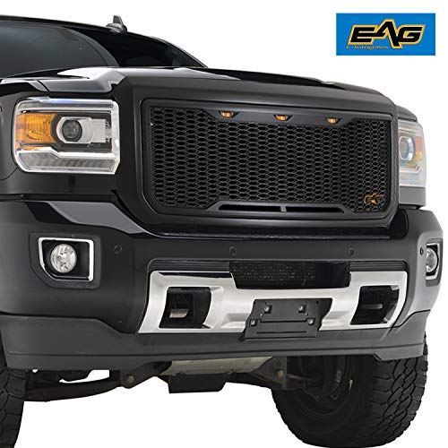 EAG Replacement Upper Grille ABS Front Hood Grill - Matte Black - with Amber LED Lights Fit for 15-18 GMC Sierra 2500/3500