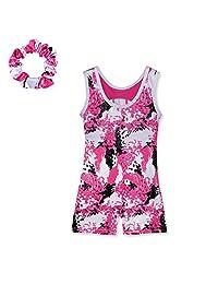 Girls Sleeveless Painted pattern Athletic Dancing Tank Leotard 4-11 Years