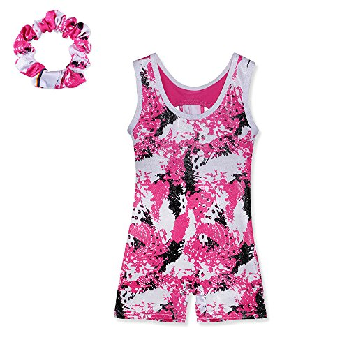Toddler Painted pattern Athletic Unitards Dancing Tank Sleeveless Leotards for Girls Gymnastics 4-11 Years (110(Recommended age 5-6Y), HotPink+scrunchies)