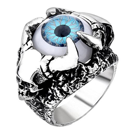 Stainless Steel Fashion Men's Rings Eye Evil Gold Silver - 3