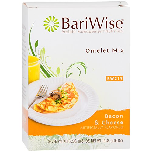 BariWise Low-Carb Bacon Cheese Omelet Mix/High Protein Mix (7 Servings/Box) - Low Carb, Low Fat, Gluten - Diet Protein Bariwise Bars