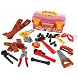 kids toolbox set - Liberty Imports Power Tools Construction Tool Box for Kids with 31 Pcs Pretend Play Tools, Belt and Workshop Accessories Toy Set