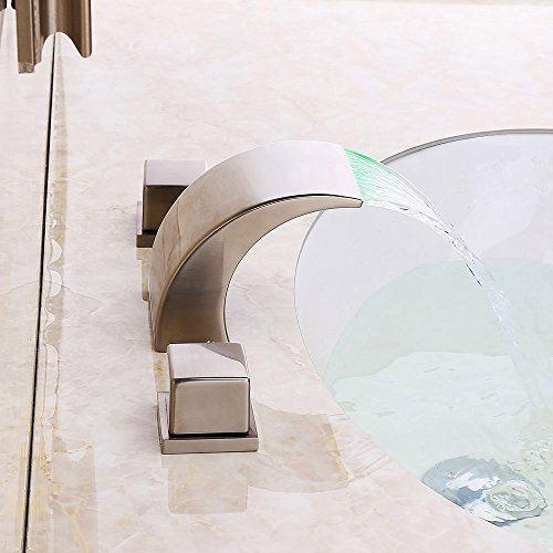 KunMai Waterfall LED Three-Hole Two-Handle Widespread Bathroom Sink Faucet in Brushed Nickel (With LED) by KunMai