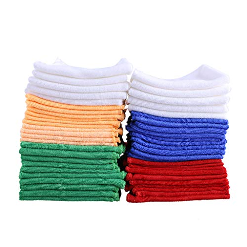 Hot Sale!UMFun Microfiber Cleaning Cloths - Pack Of 50 Towels Blue, Red, White, Green, Orange