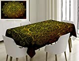 Unique Custom Cotton And Linen Blend Tablecloth Mandala Ornamental Snowflake Floral Ethnic Traditional Arabian Oriental Graphic Artwork Yellow BrownTablecovers For Rectangle Tables, 70 x 52 Inches