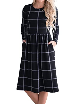 6310e80fe24c YOMISOY Womens Plaid Shirt Dress Casual Long Sleeve Pleated Tunic Swing  Midi Dresses with Pockets Brown