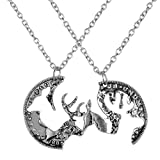 Pack of 2 Vintage Silver Coin Stag Deer Couple Friendship Best Friends Pendant Necklace