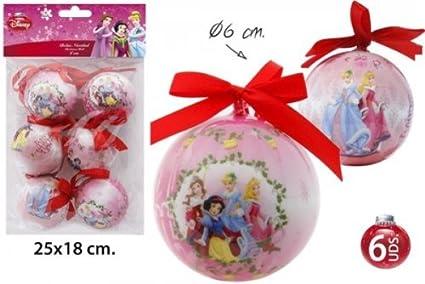 Pack Bolas Decoración Navideña Modelos Surtidos, DISNEY, -PRINCESAS-, 6uds.