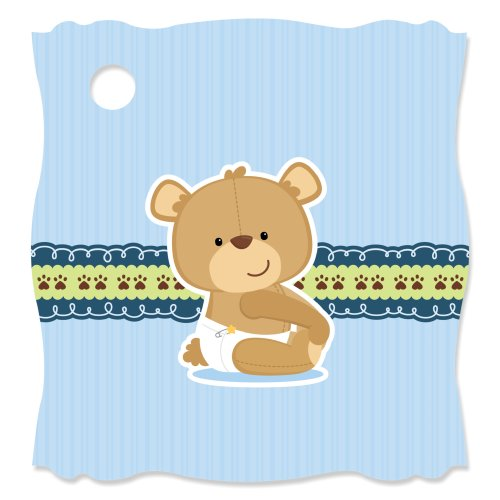 Boy Baby Teddy Bear - Die-Cut Baby Shower Party Favor Tags (Set of 20)