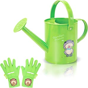 Hortem Kids Watering Can, Metal Garden Watering Can for Plants and Flowers, Anti-Rust Powder Coating Treatment with Hedgehog Pattern(1.5L Green)