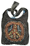 Peace Sign Embroidered Stonewashed Sling Bag, Bags Central