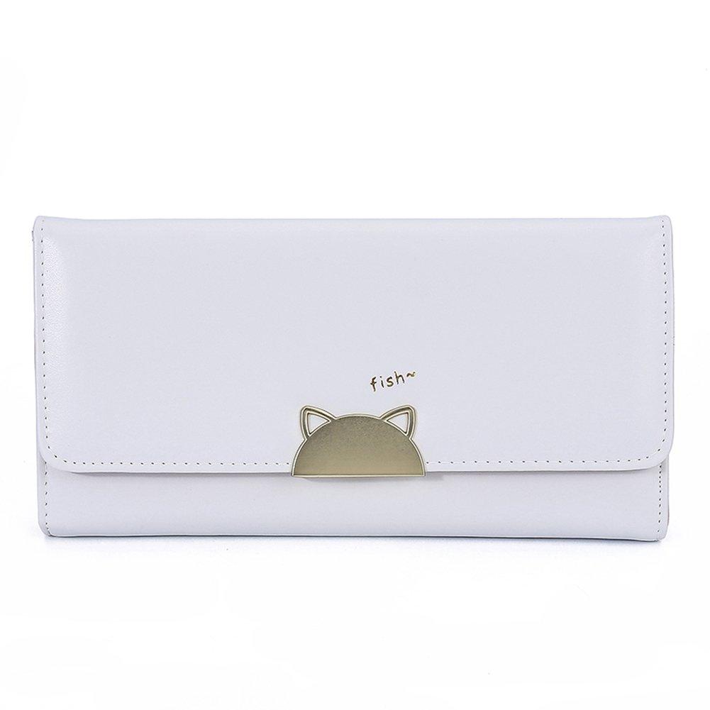 gz-ly-gjtレディースウォレット猫パターンボタンPUレザークラッチバッグコイン財布  C-gray B072FCBMNC