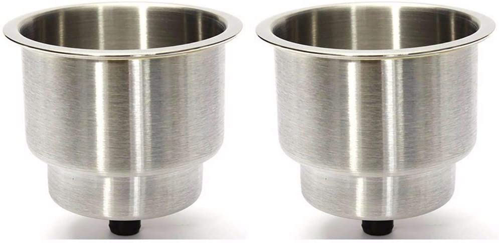 Bay-sun 2 Pack Stainless Steel Cup Holder with Drain Drink Holder for Marine Boat Rv Camper Brushed