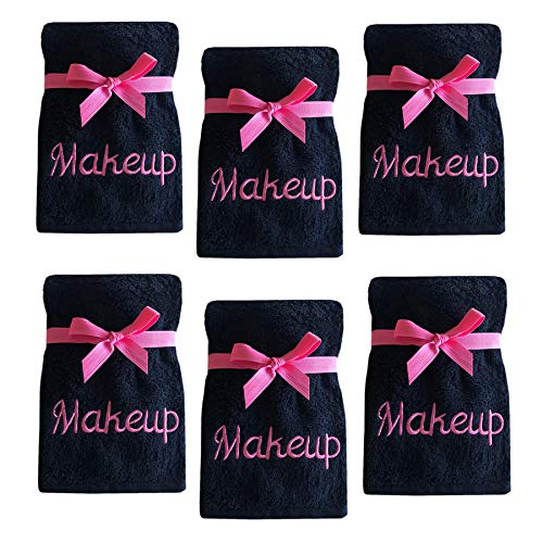 Luxury 100% Cotton Makeup Removal and Cleansing Embroidered Wash Cloths, Set of 6 Makeup Wash Cloths, Black with Pink Embroidery