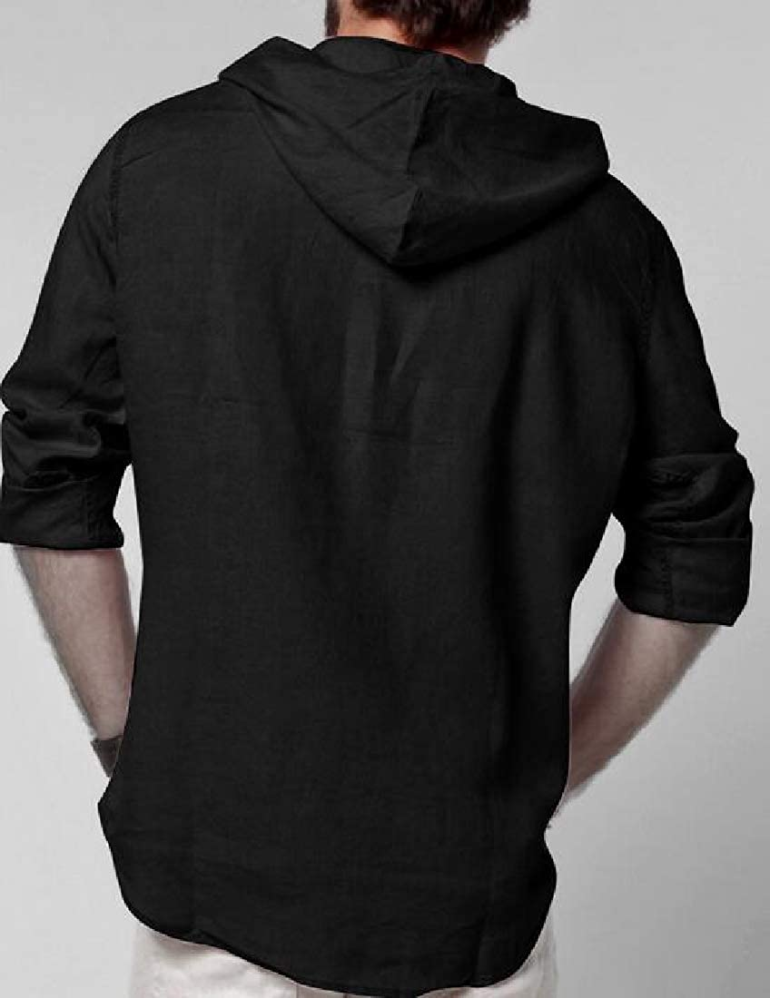 pipigo Mens Stylish Plain Linen Hoodie Middle Eastern Long Sleeve Shirts