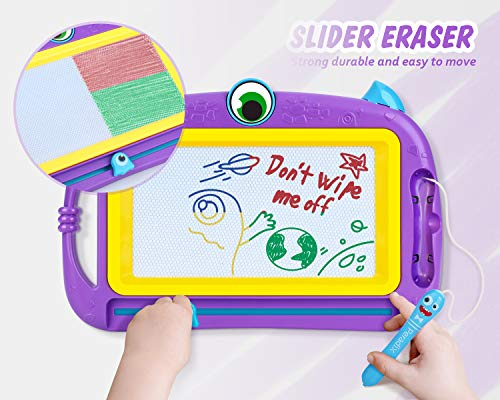 Peradix Magnetic Drawing Doodle Board with 2 Magnetic Pens and Stickers- Erasable Scribble Board Colorful Writing Pad Learning Toys for Kids Children Toddlers(Purple)