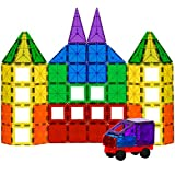 Best Choice Products 100-Piece Clear Multi Colors Magnetic Tiles Building Set w/ Car & Carrying Bag