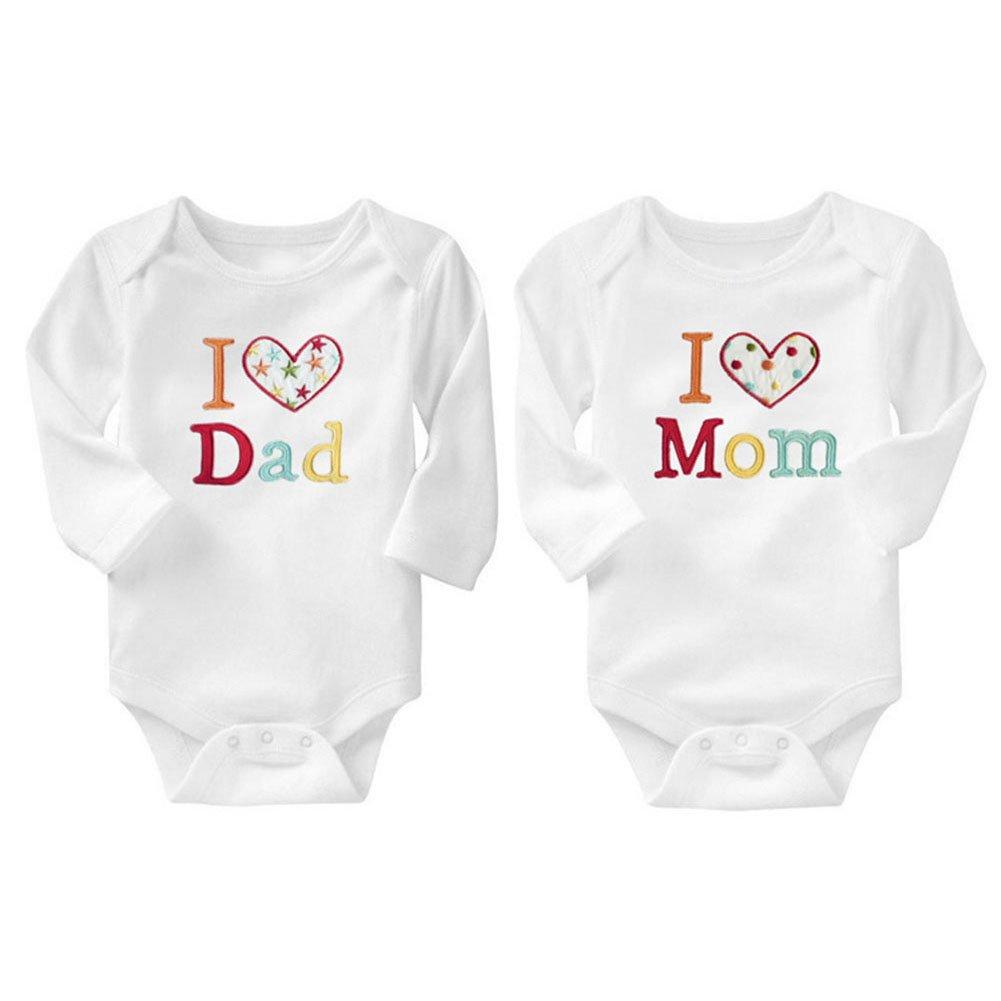 Weixinbuy Baby Boy Girl 2 Pack Cotton Romper I Love Daddy Mommy Bodysuit Pajamas