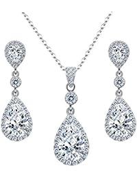 925 Sterling Silver Full Cubic Zirconia Teardrop Bridal Pendant Necklace Dangle Earrings Set