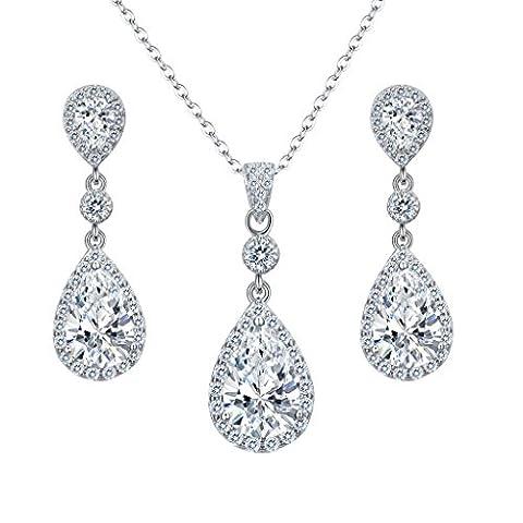 EleQueen 925 Sterling Silver Full Cubic Zirconia Teardrop Bridal Pendant Necklace Dangle Earrings Set - Cubic Zirconia Pendant Jewelry