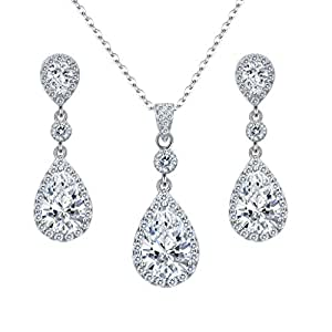 EleQueen 925 Sterling Silver Full Cubic Zirconia Teardrop Bridal Pendant Necklace Dangle Earrings Set Clear