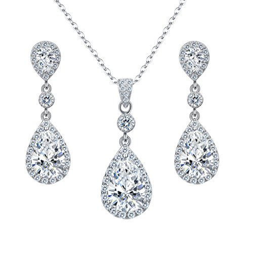 EleQueen 925 Sterling Silver Full Cubic Zirconia Teardrop Bridal Pendant Necklace Dangle Earrings Set Clear (925 Necklace Set)