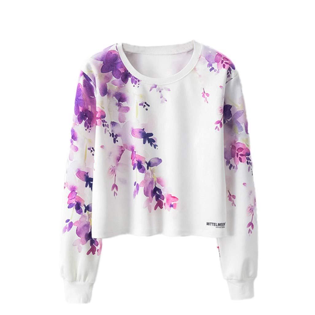 Keliay Bargain Women's Fashion O- Neck Pullover Rose Print Long Sleeve Sweater Blouse