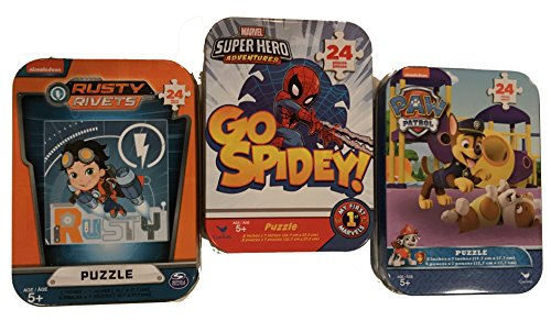 3 Collectible Mini Jigsaw Puzzles in Travel Tin Cases: Paw Patrol, Spidey, Rusty Rivets Gift Set Bundle (24 -
