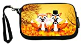 Red Foxes in Love Wedding Illustration - Neoprene Clutch Wristlet Coin Purse