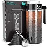Coffee Gator Cold Brew Coffee Maker - BPA-Free Filter and Glass Carafe - Brewing Kit with Stainless Steel Measuring Scoop and Collapsible Loading Funnel - Black - 47 ounce
