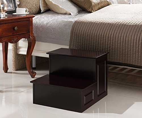 - Kings Brand Furniture - Large Wood Bedroom Step Stool, Cherry Finish