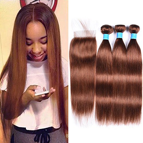 Light brown color 30-Virgin-Hair-Auburn-100GBundles-Straight-Hair-3-Bundles-with-Closure-8A-Unprocessed-Peruvian-Virgin-Hair-with-Closure12-14-1610closure