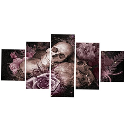 Jili Online No Framed Skull with Flower Canvas Prints Painting Home Art Decor Wall Picture -S / L - S (Print Skull Framed Small)