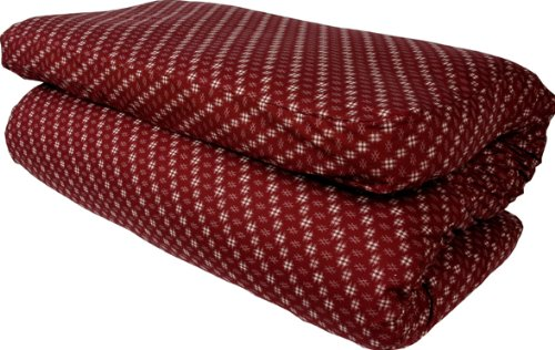 J- Life Traditional Japanese Shiki Futon (Shikibuton) - QUEEN SIZE with Custom Removable Kasuri Red Cover 60